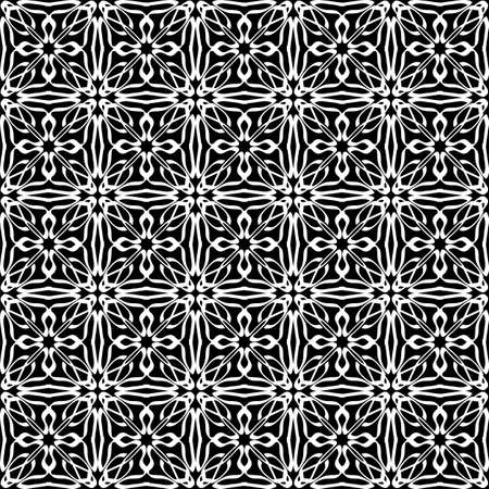 Seamless oriental pattern with Arabic ornaments. White lines on a black background. Foto de archivo - 129892364