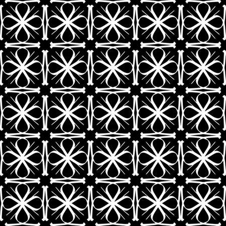 Seamless oriental pattern with Arabic ornaments. White lines on a black background. Foto de archivo - 129892366