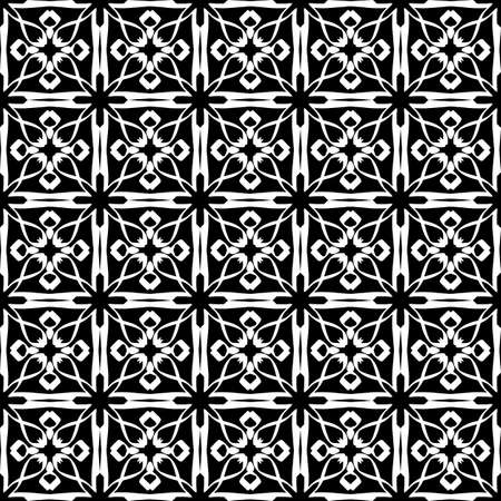 Seamless oriental pattern with Arabic ornaments. White lines on a black background. Foto de archivo - 129892367