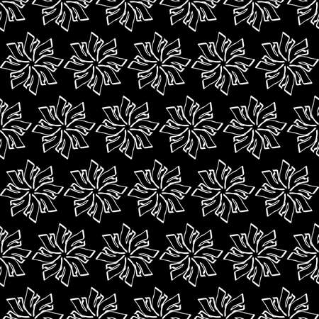 Seamless oriental pattern with Arabic ornaments. White lines on a black background. Foto de archivo - 129892372