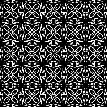 Seamless oriental pattern with Arabic ornaments. White lines on a black background. Foto de archivo - 129892369