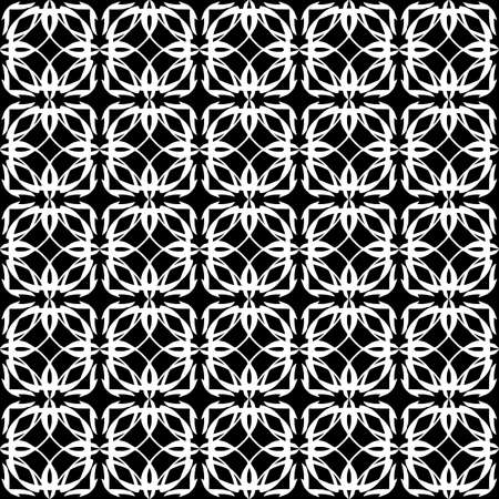 Seamless oriental pattern with Arabic ornaments. White lines on a black background. Foto de archivo - 129892379