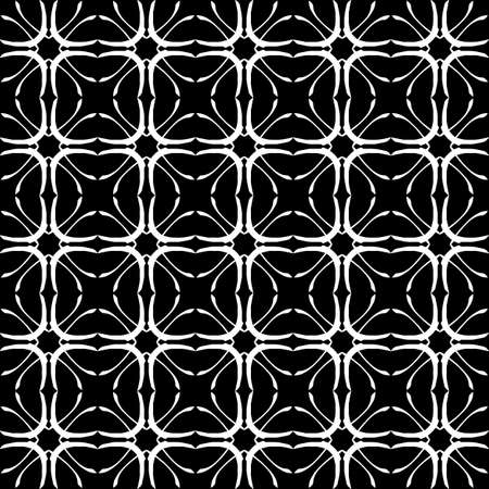 Seamless oriental pattern with Arabic ornaments. White lines on a black background. Foto de archivo - 129892377