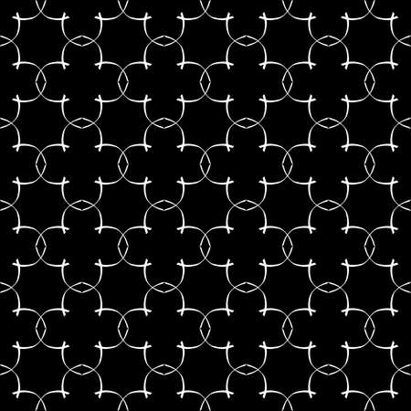 Seamless oriental pattern with Arabic ornaments. White lines on a black background. Foto de archivo - 129892384