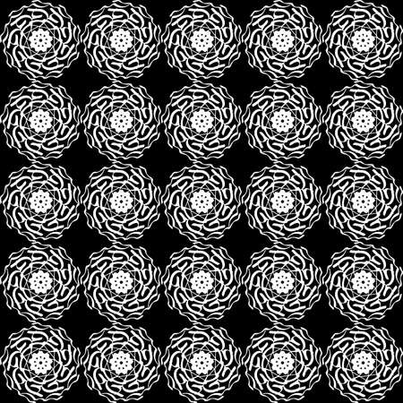 Seamless oriental pattern with Arabic ornaments. White lines on a black background. Foto de archivo - 129892489