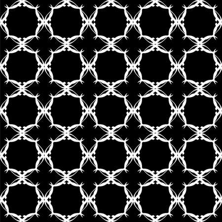 Seamless oriental pattern with Arabic ornaments. White lines on a black background. Foto de archivo - 129892492