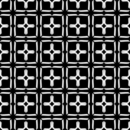 Seamless oriental pattern with Arabic ornaments. White lines on a black background. Foto de archivo - 129892488
