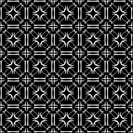 Seamless oriental pattern with Arabic ornaments. White lines on a black background. Foto de archivo - 129892494