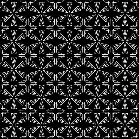 Seamless oriental pattern with Arabic ornaments. White lines on a black background. Foto de archivo - 129892497
