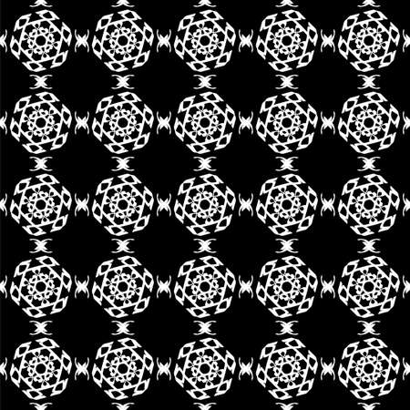 Seamless oriental pattern with Arabic ornaments. White lines on a black background. Foto de archivo - 129892499