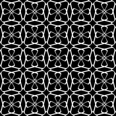 Seamless oriental pattern with Arabic ornaments. White lines on a black background. Foto de archivo - 129892496