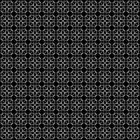 Seamless oriental pattern with Arabic ornaments. White lines on a black background. Foto de archivo - 129892500