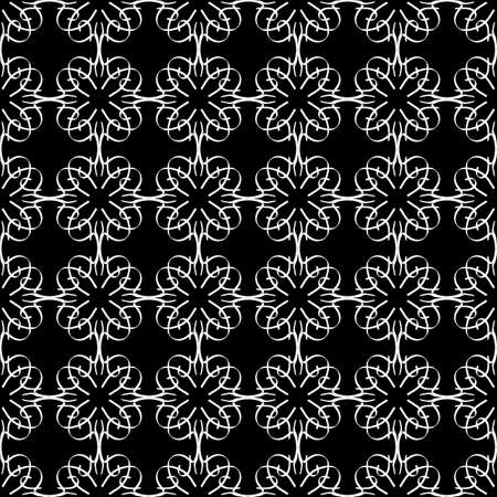 Seamless oriental pattern with Arabic ornaments. White lines on a black background. Foto de archivo - 129892503