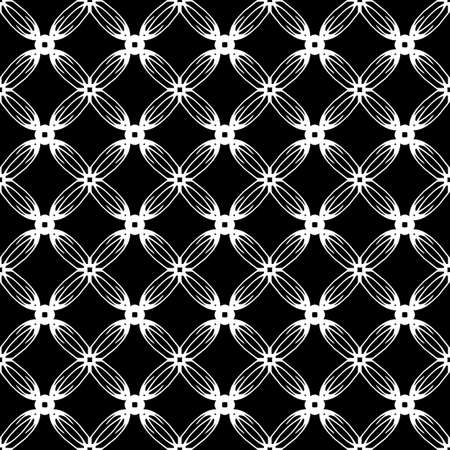 Seamless oriental pattern with Arabic ornaments. White lines on a black background. Foto de archivo - 129892504