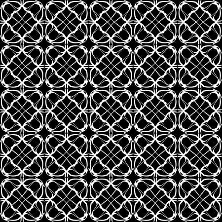 Seamless oriental pattern with Arabic ornaments. White lines on a black background. Foto de archivo - 129892505