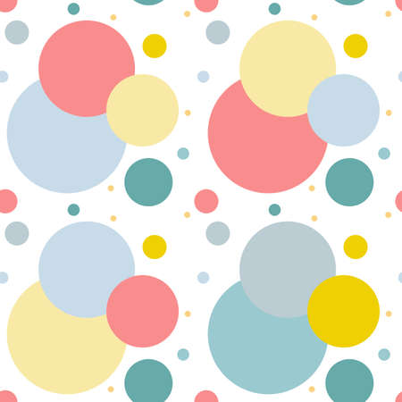 Seamless pattern. Multi-colored circles on a white background. Texture. Vector Ilustracja