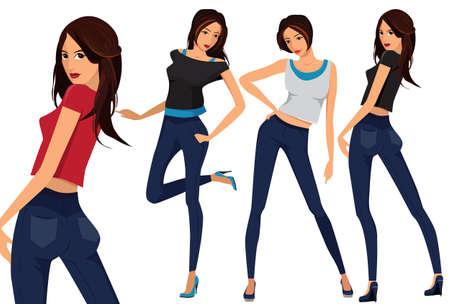 t shirt model: Fashionable young girls. Cartoon illustration of young women. Vector set of three beautiful females in different clothes