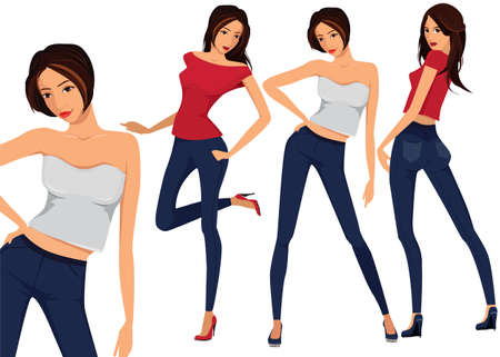 cartoon dress: Vector set of three beautiful females in different clothes