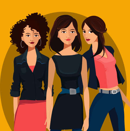 sexy teenage girls: Fashionable young girls.Cartoon illustration of young womenVector set of three beautiful females in different clothes