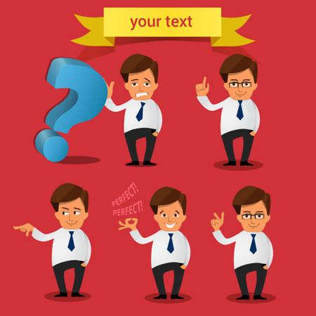 smart man: Vector Set of businessman Cartoon character Illustration
