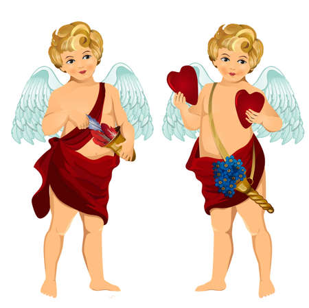 Vintage cupid illustration with flowers, hearts and arrows