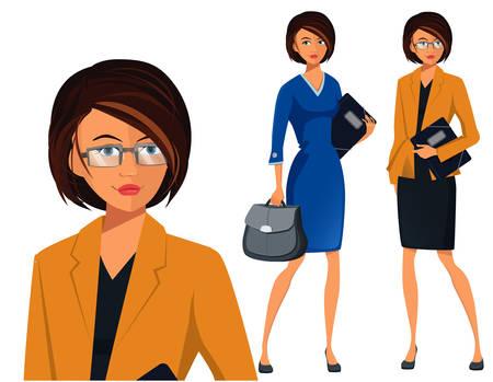 Vector Set van een succesvolle zakenvrouw
