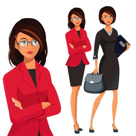 Vector Conjunto de Mujer de negocios acertada Ilustración de vector