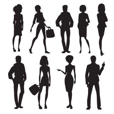 Originele mensen silhouetten vectorillustratie Stock Illustratie