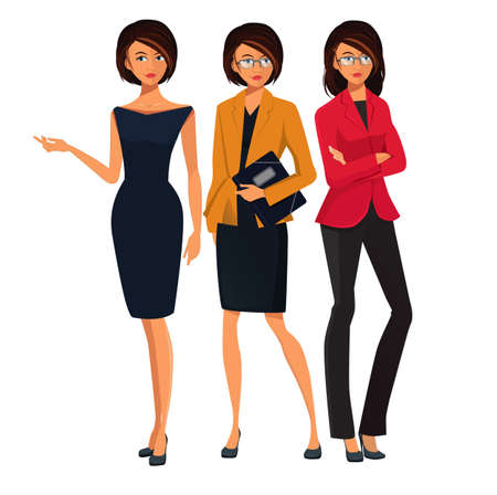 Set of Successful Business Women. Business woman pointing