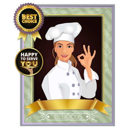 ok: Portrait of a smiling female chef  showing ok sign. Badge, vintage, frame Illustration