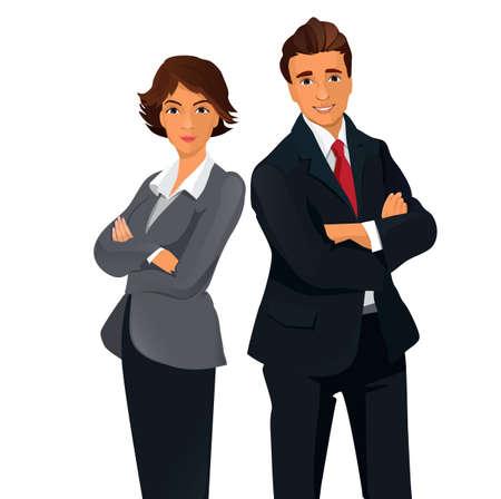 folded hands: Businesspeople standing folded hands  Teamwork Concept . Illustration