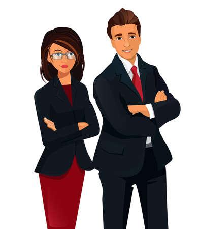 folded hands: Two women an man standing folded hands. Teamwork Concept .
