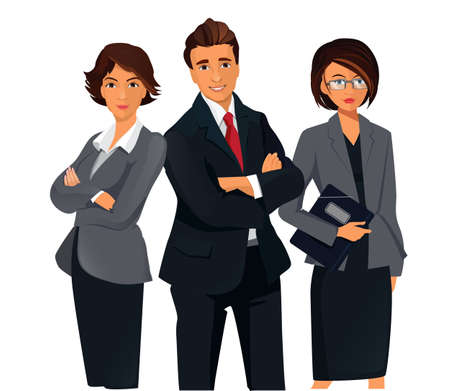 Businesspeople standing folded hands Teamwork Concept .