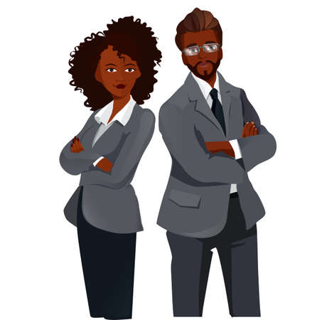 afro american: Afro American Women and Man standing folded hands. Teamwork Concept .