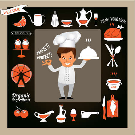 cartoon kitchen: Cooking and Food concept -Smiling Chef Showing Ok Sign and Serving Food