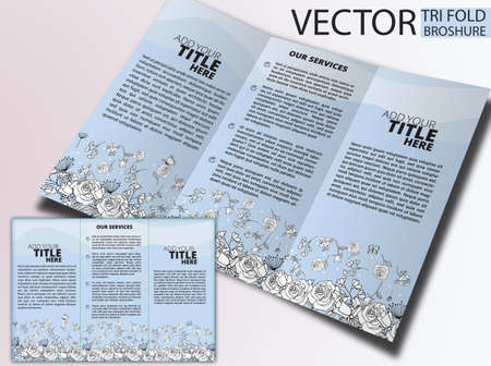 tri color: Floral Tri Fold Brochure ,  brochure or cover design, can be use for publishing, print and presentation.