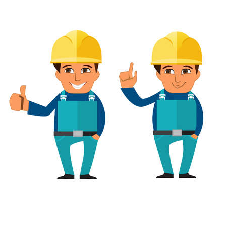 protective wear: Builder, worker in protective wear and helmets in flat style