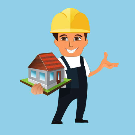 house building: orker, builder holding a model of house. Isolated on white background.