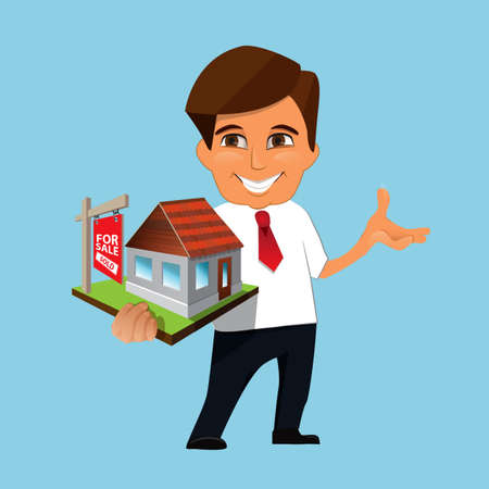 sold sign: Real estate agent holding in his hands the model of a house with sold sign. Real estate concept Illustration