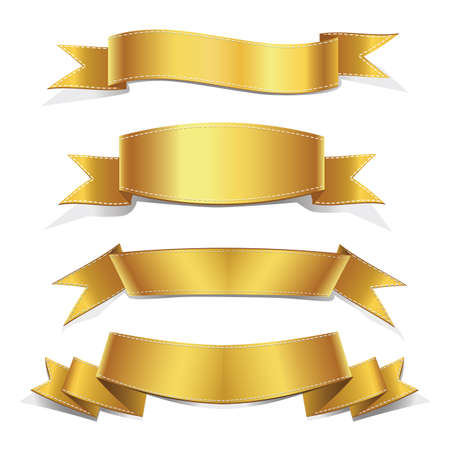 Realistic Gold Vector Ribbons Set ,  banner, with stitch detailing for your design project