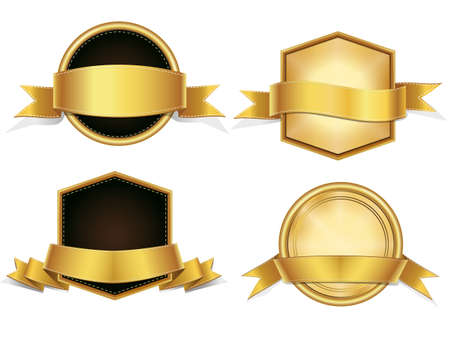 Realistic Gold Vector Set ,  banner, with stitch detailing for your design project