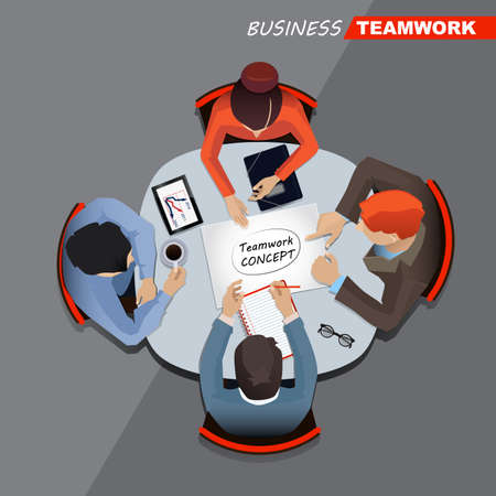 business meeting: Business meeting and brainstorming. Teamwork Illustration