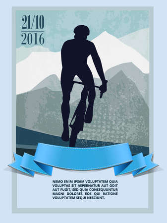 El ciclista de bicicletas de montaña a caballo sola pista. rutina de ejercicio