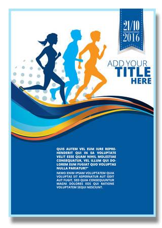 Running marathon,Running people characters. Poster