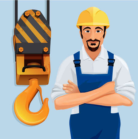 construction safety: Construction worker with safety hat by crane hook