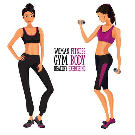 mujer de la aptitud. Mujer que se resuelve con pesas en el gimnasio Ilustración de vector