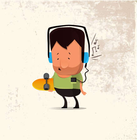 Vector hipster man character with skateboard listening music