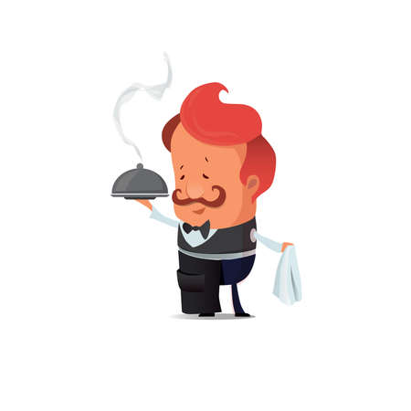 Handsome Waiter serving. Vector flat isolated illustration