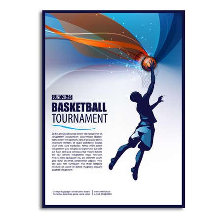 Illustrazione di basket Volantino di poster di sfondo. Tema sportivo