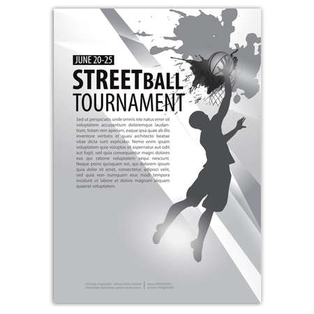 Silhouette of a basketball player, POSTER, FLYER. Text on a separate layer Vettoriali